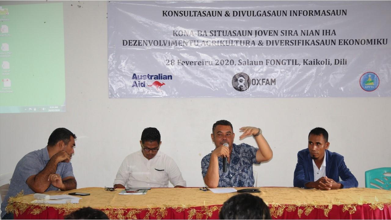 APFTL hetan workshop husi OXFAM ba rezultadu peskiza Joven Agrikultura no Diversifikasaun Ekonomia